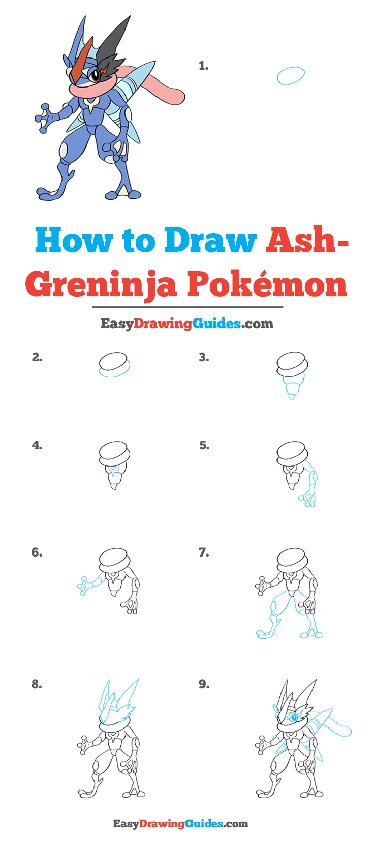 How to Draw Ash Greninja Pokémon Step by Step Tutorial Image