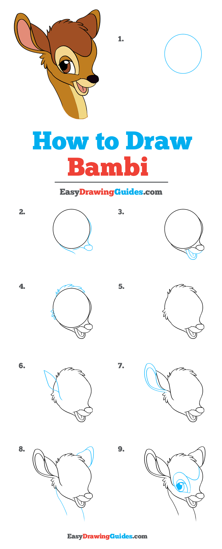 How to Draw Bambi Step by Step Tutorial Image