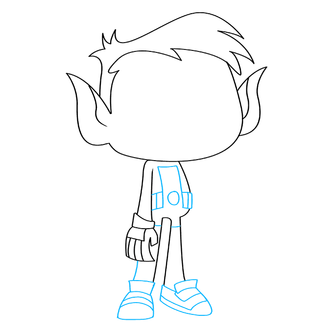 How to Draw Beast Boy from Teen Titans: Step 6