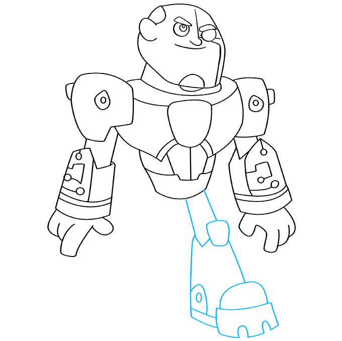 How to Draw Cyborg from Teen Titans: Step 8