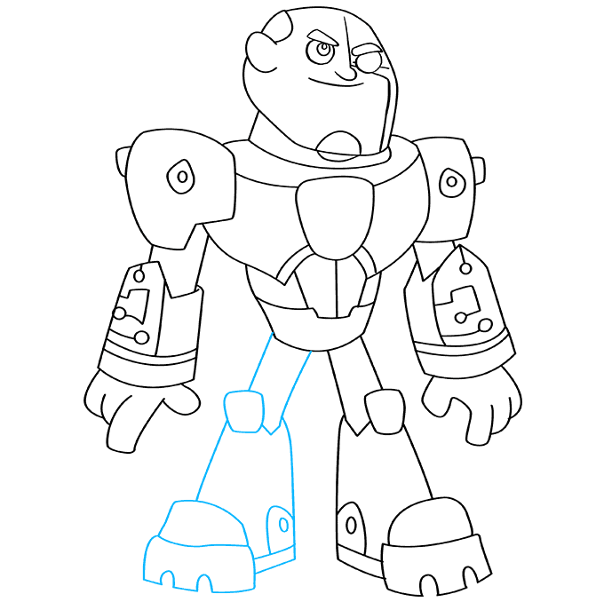 How to Draw Cyborg from Teen Titans Step 09
