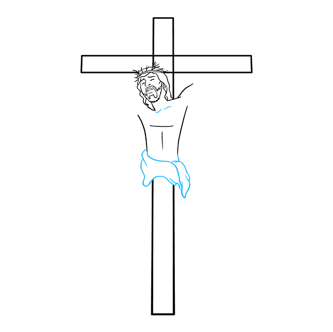 How to Draw Jesus on the Cross Step 05