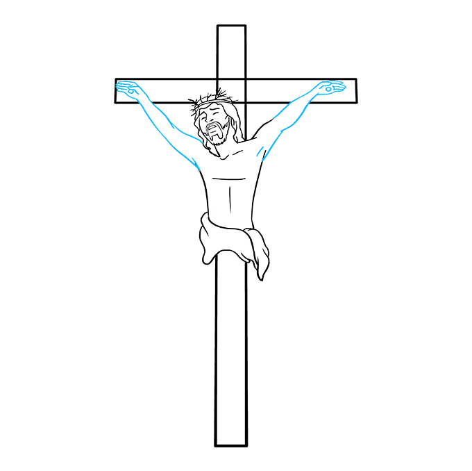 How to Draw Jesus on the Cross Step 06