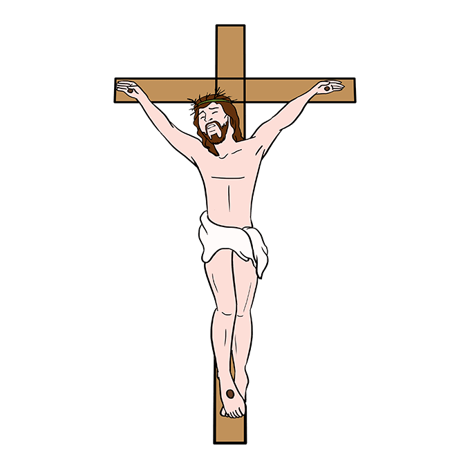 How to Draw Jesus on the Cross Step 10