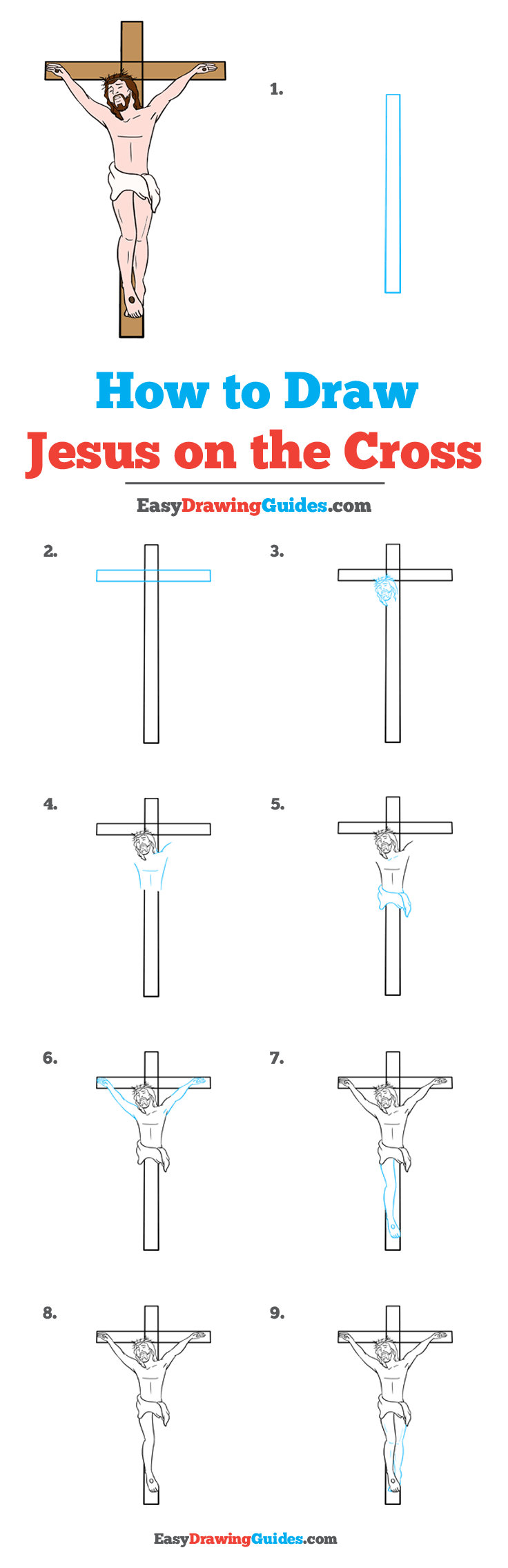 How to Draw Jesus on the Cross Step by Step Tutorial Image
