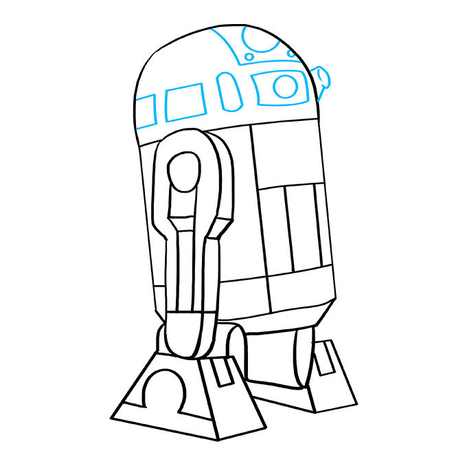 How to Draw R2-D2 from Star Wars: Step 9