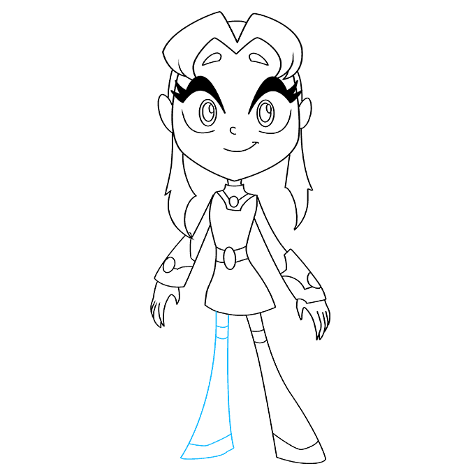 How to Draw Starfire from Teen Titans: Step 8