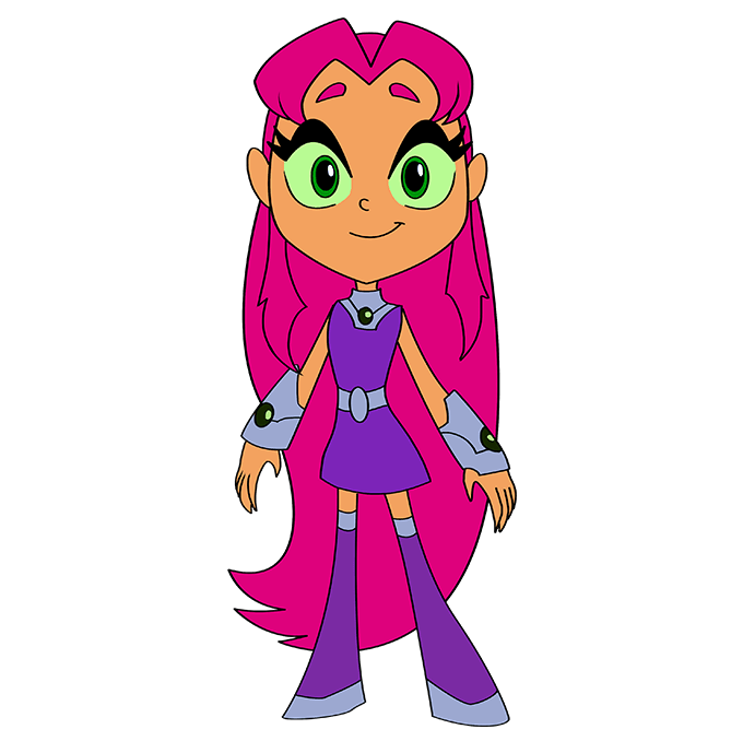 How to Draw Starfire from Teen Titans: Step 10