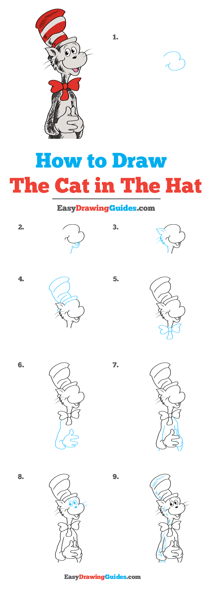 How to Draw The Cat in The Hat Step by Step Tutorial Image