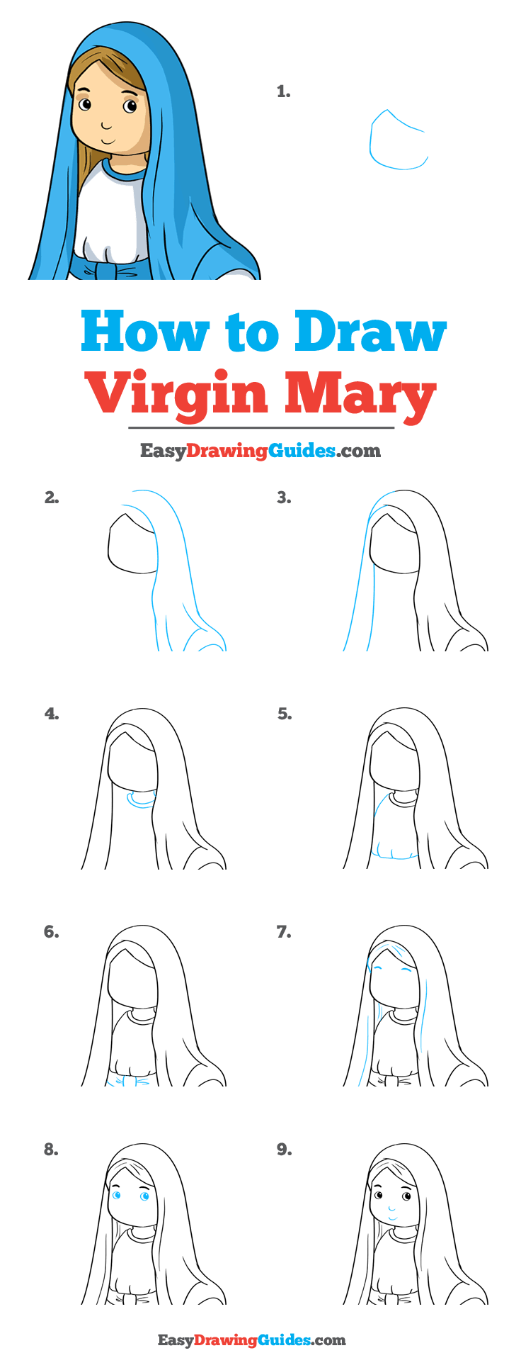 How to Draw Virgin Mary