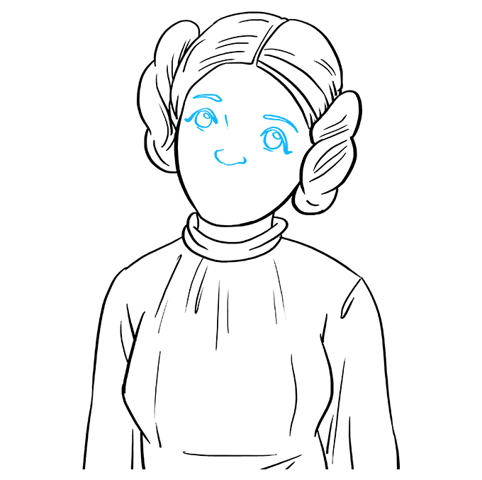 How to Draw Princess Leia: Step 8