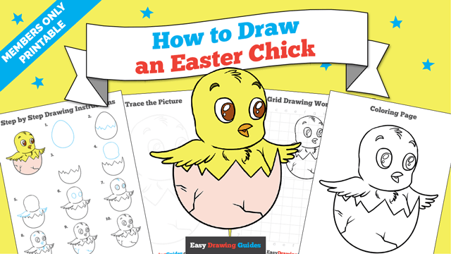 download a printable PDF of Easter Chick drawing tutorial