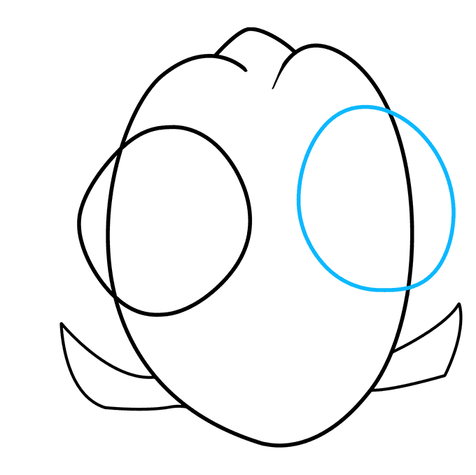 How to Draw Baby Dory from Finding Dory: Step 6