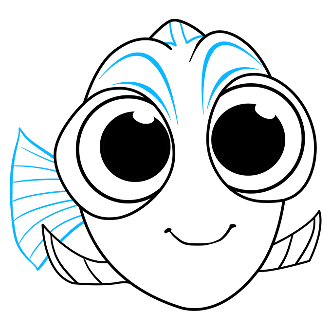 How to Draw Baby Dory from Finding Dory: Step 9