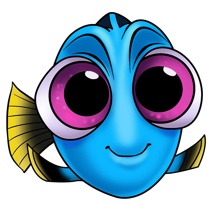 How to Draw Baby Dory from Finding Dory: Step 10