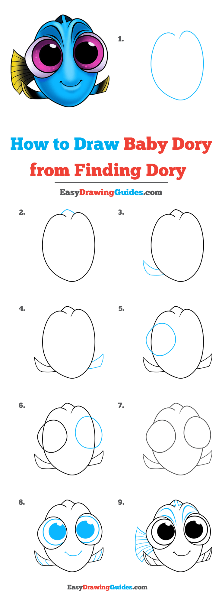 How to Draw Baby Dory from Finding Dory