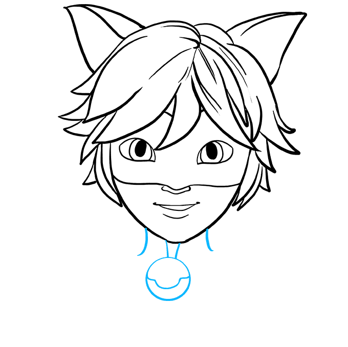 How to Draw Cat Noir from Miraculous: Step 6