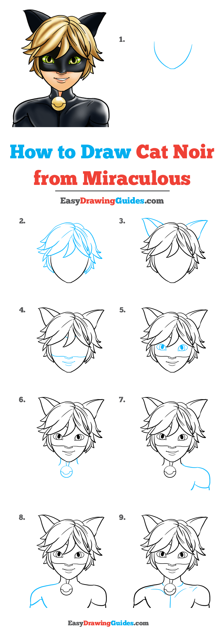 How to Draw Cat Noir from Miraculous Step by Step Tutorial Image
