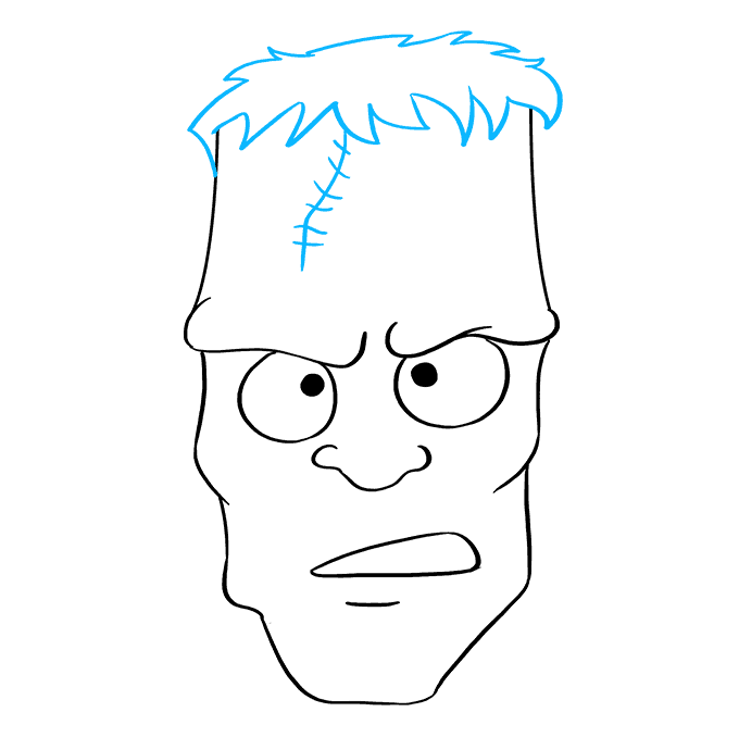 How to Draw Frankenstein's Monster: Step 8