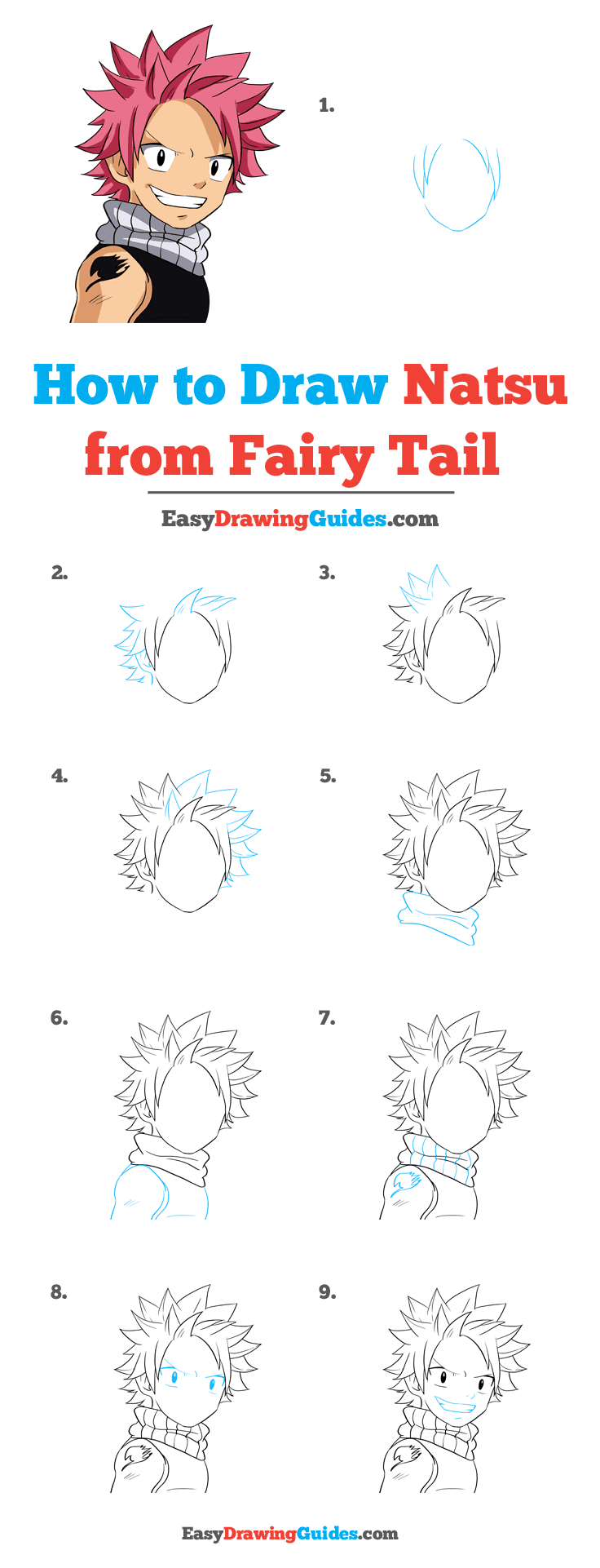 How to Draw Natsu from Fairy Tail Step by Step Tutorial Image