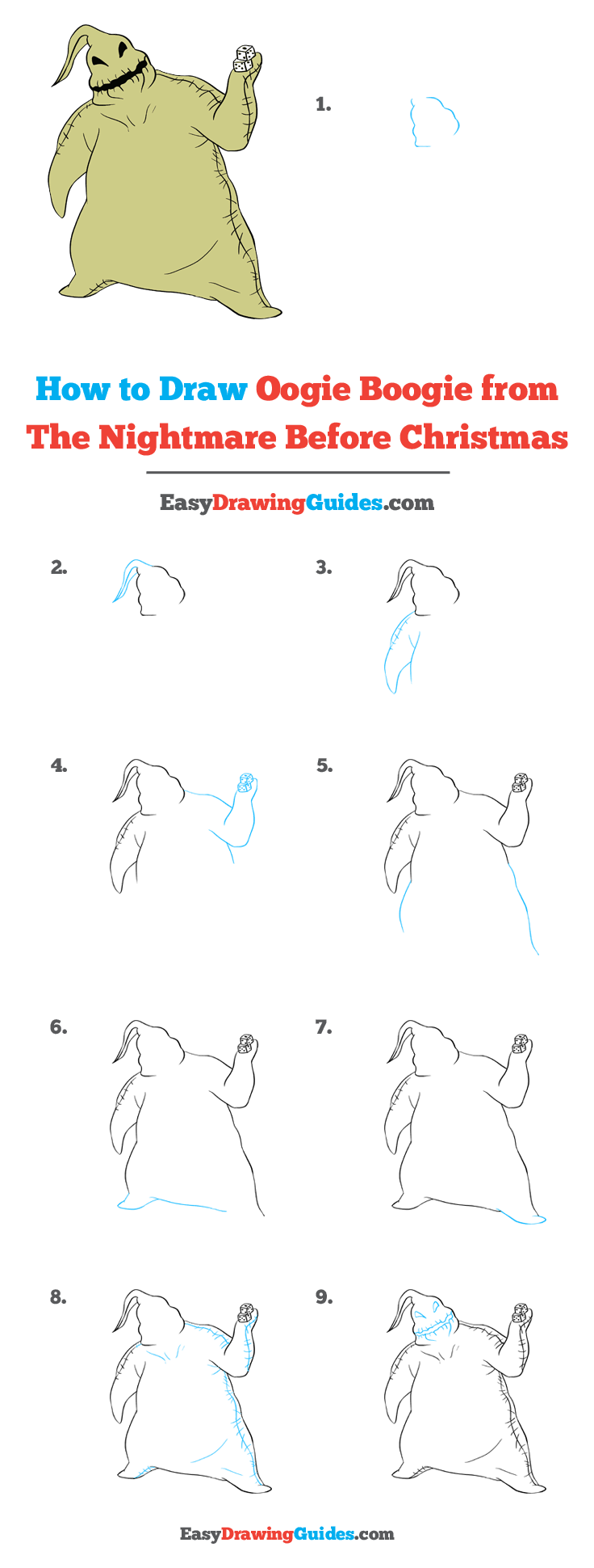 How To Draw Oogie Boogie From The Nightmare Before Christmas Really Easy Drawing Tutorial Oogie boogie says there's trouble close at hand you'd better pay attention now 'cause i'm the boogie man. how to draw oogie boogie from the