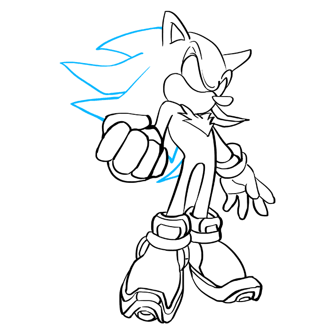 How to Draw Shadow the Hedgehog: Step 8