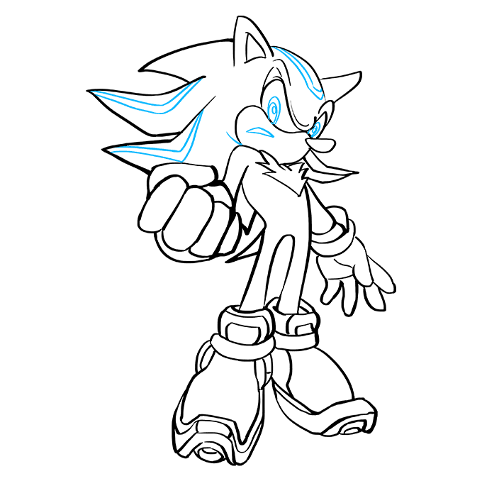 How to Draw Shadow the Hedgehog: Step 9