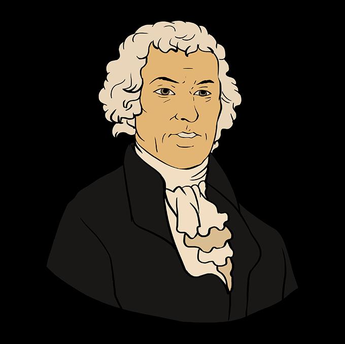 How to Draw Thomas Jefferson: Step 10