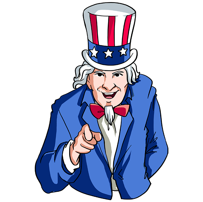 How to Draw Uncle Sam: Step 10