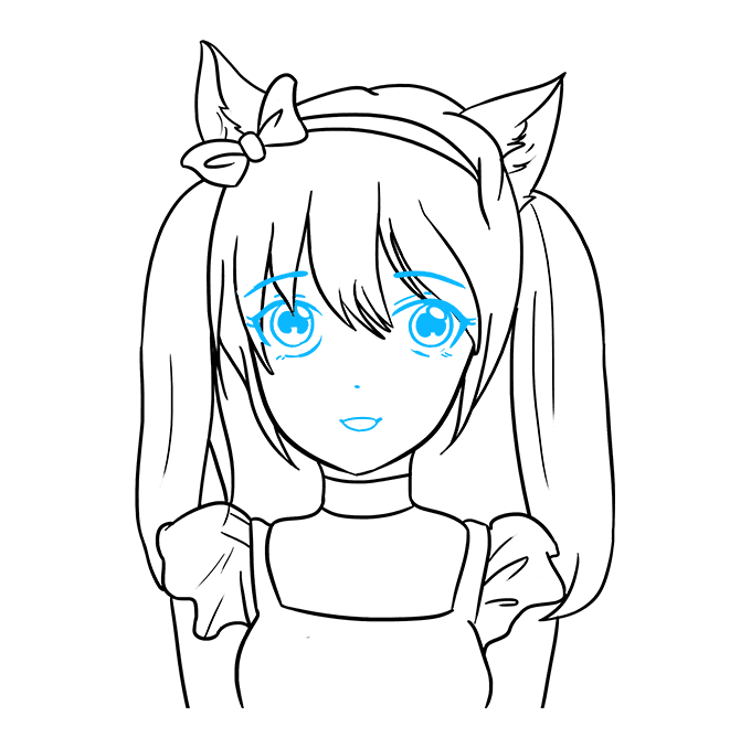 How to Draw Anime Cat Girl: Step 9