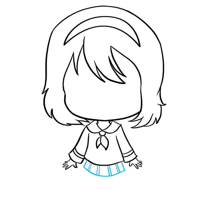 How to Draw Anime Chibi Girl: Step 7