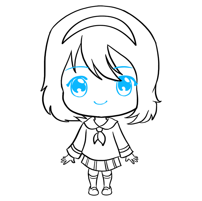 How to Draw Anime Chibi Girl: Step 9