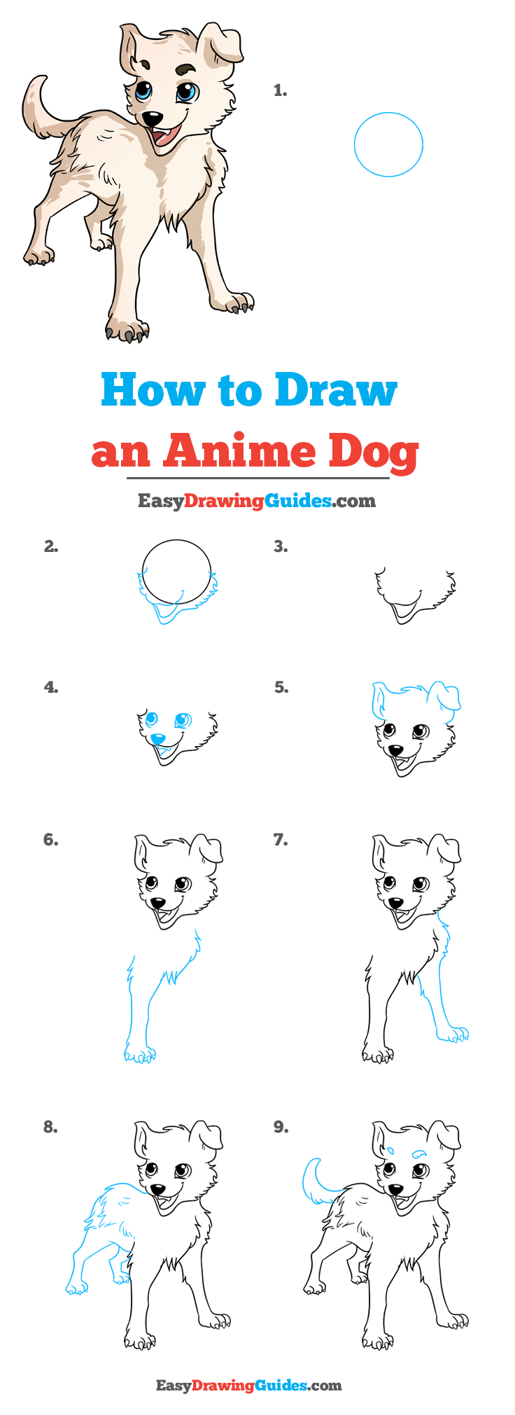 How to Draw an Anime Dog Step by Step Tutorial Image