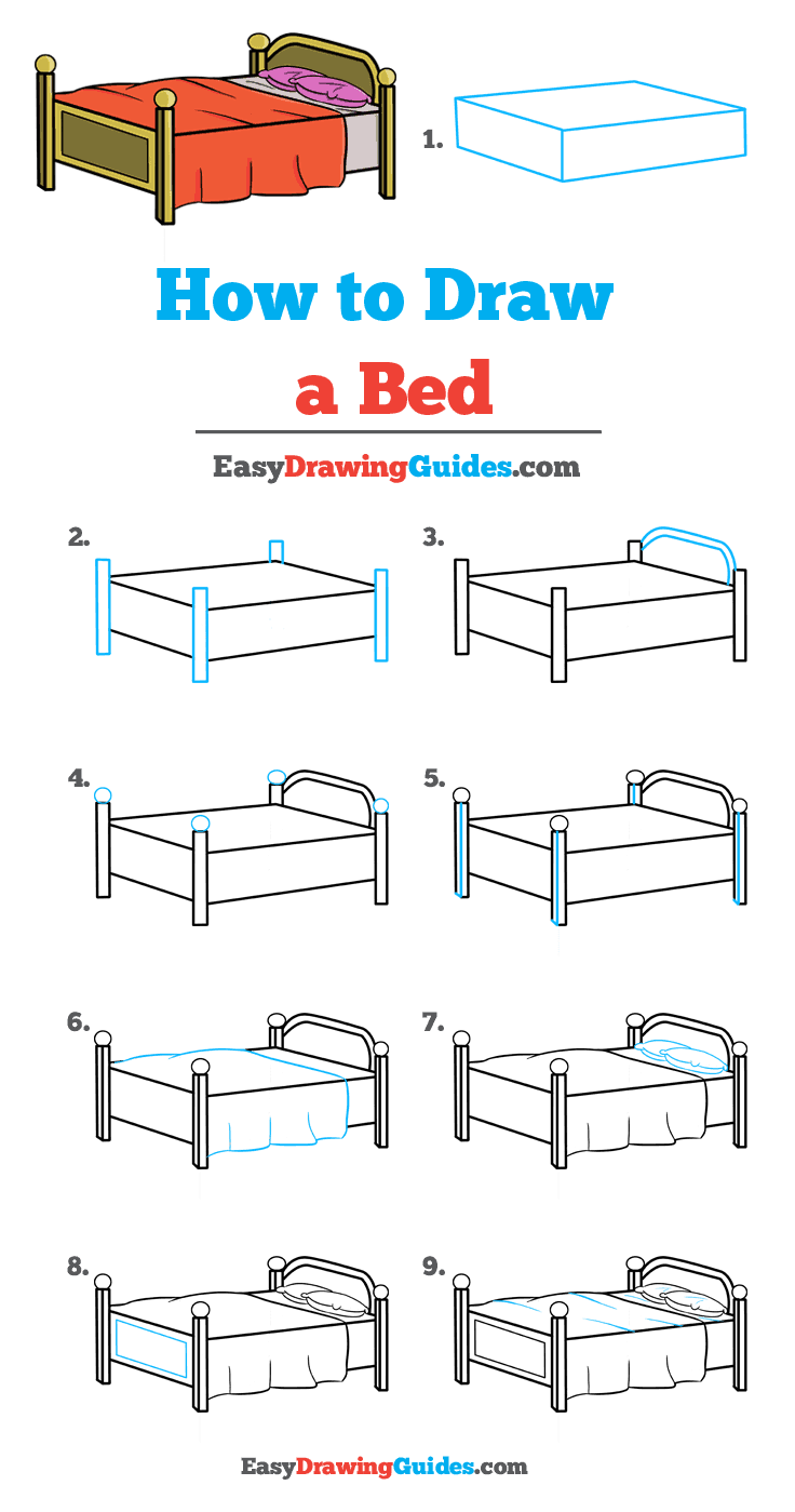 How to Draw a Bed Step by Step Tutorial Image