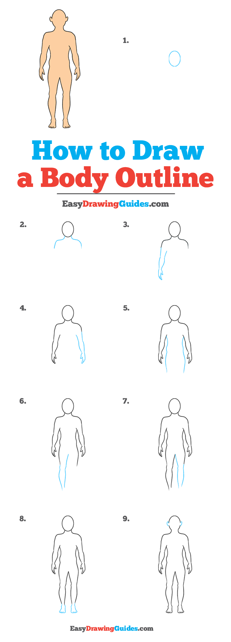 How to Draw a Body Outline Step by Step Tutorial Image