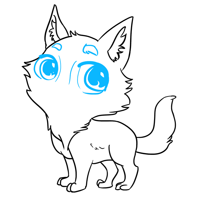 How to Draw Chibi Wolf: Step 8