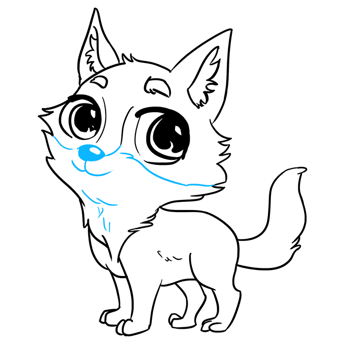 How to Draw Chibi Wolf: Step 9