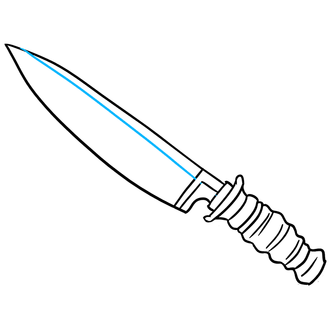 How to Draw Knife: Step 9