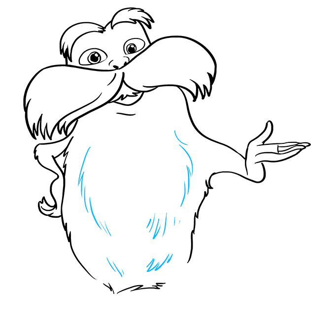 How to Draw The Lorax by Dr. Seuss Step 07
