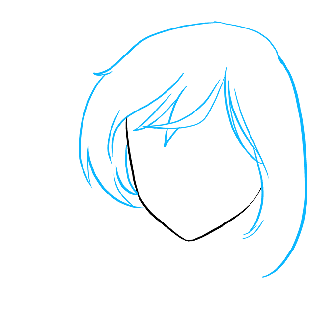 How to Draw Sad Anime Face: Step 2