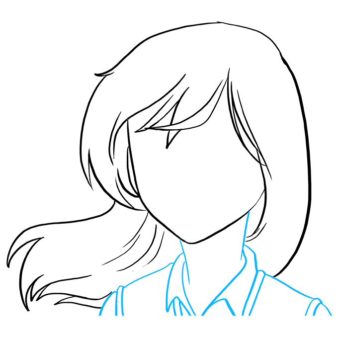 How to Draw a Sad Anime Face Step 04