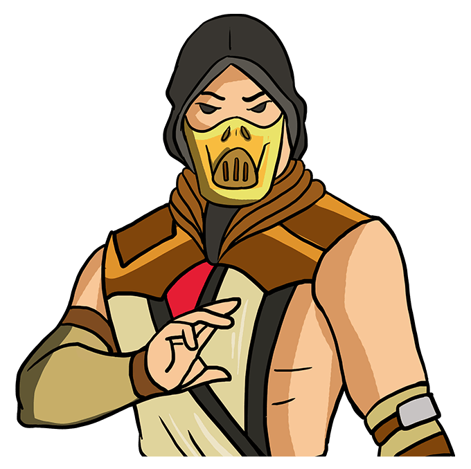 How to Draw Scorpion from Mortal Kombat: Step 10