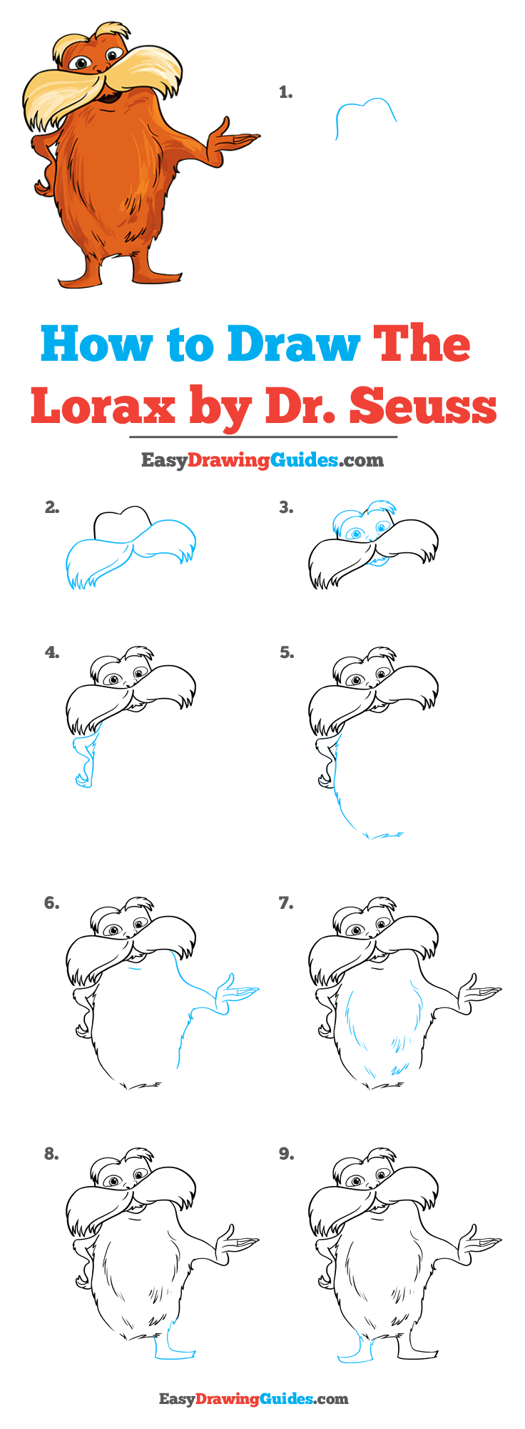How to Draw The Lorax by Dr. Seuss Step by Step Tutorial Image