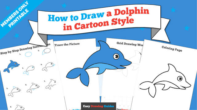 download a printable PDF of Dolphin drawing tutorial