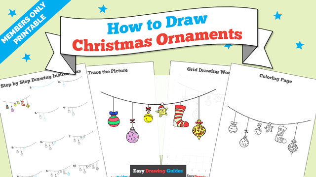 download a printable PDF of Christmas Ornaments drawing tutorial