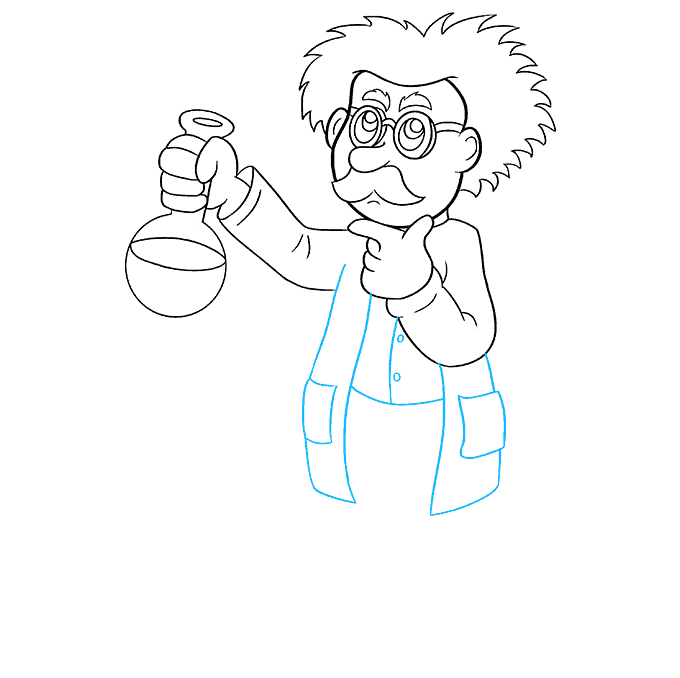 How to Draw Cartoon Scientist: Step 7