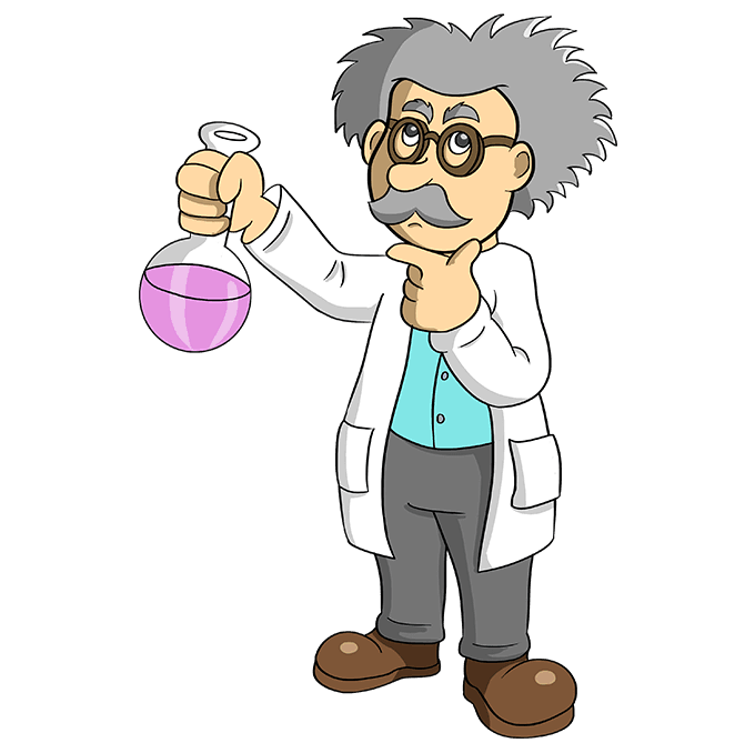 How to Draw Cartoon Scientist: Step 10
