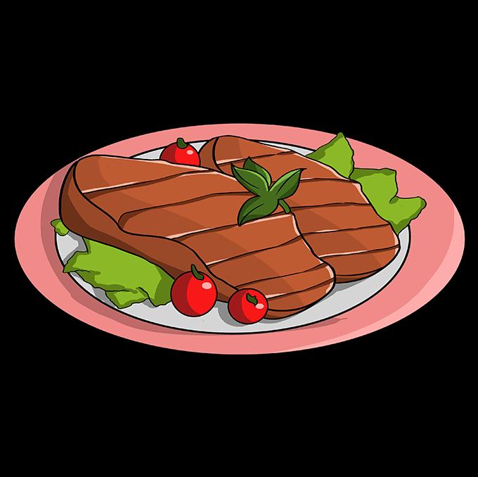 How to Draw Cartoon Steak: Step 10