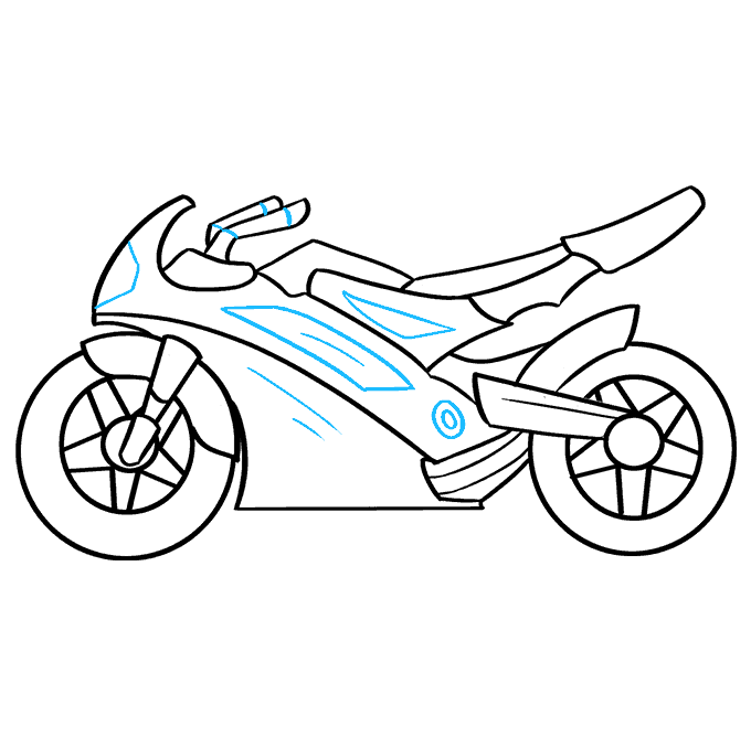 How to Draw Motorcycle: Step 9