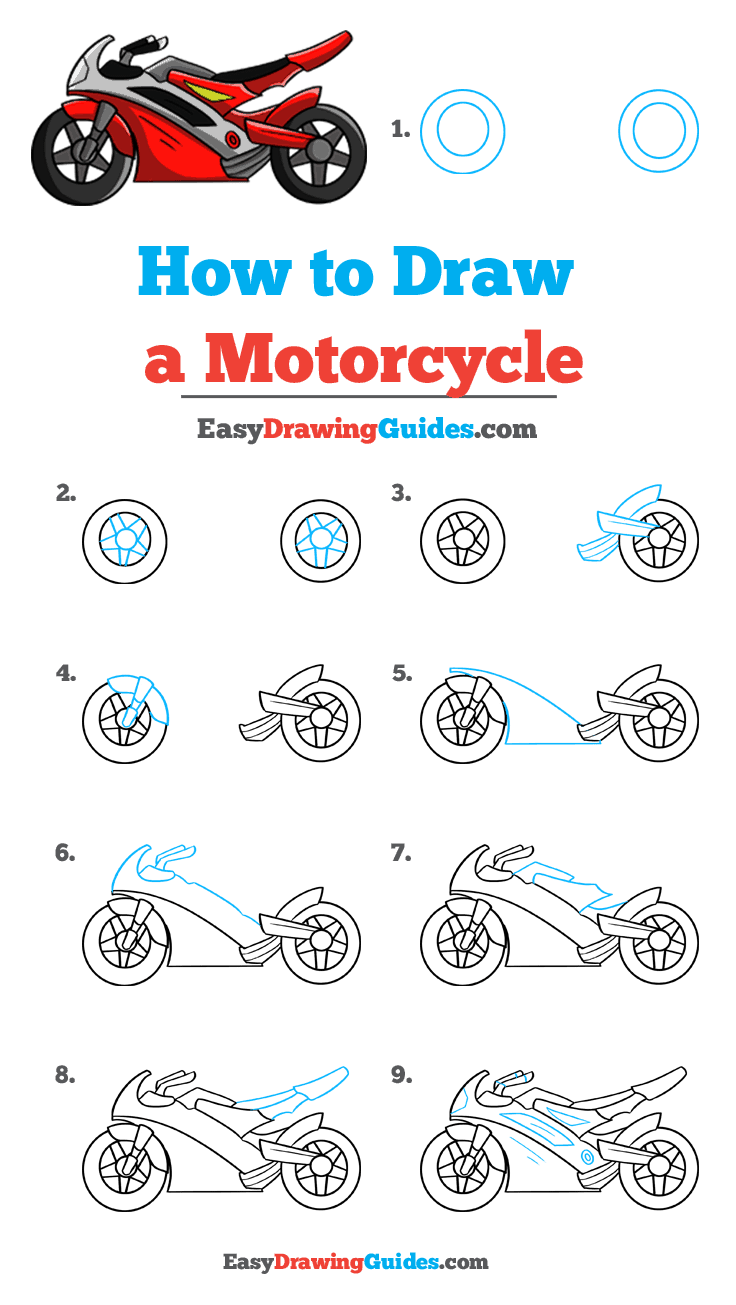 How To Draw A Motorcycle Really Easy Drawing Tutorial